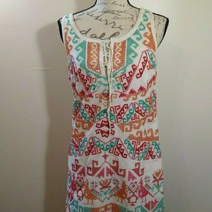 Free People Embroidered Linen Blend Shift Dress